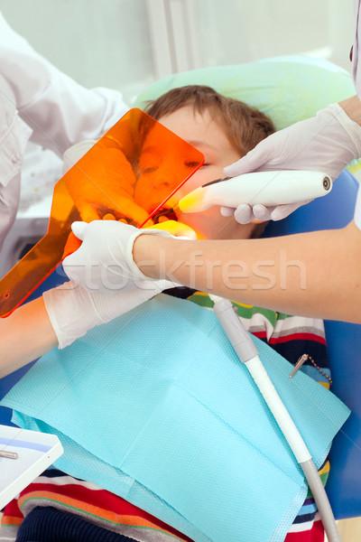 Stock fotó: Fiú · fogorvos · fogászati · eljárás · megelőzés · szék