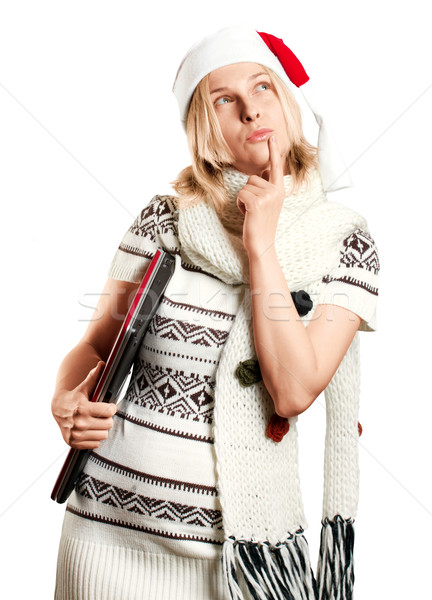 Woman Waiting For Christmas With Laptop Stock photo © leedsn