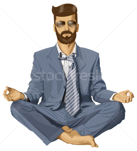 Vector Hipster Businessman in Lotus Pose Meditating Stock photo © leedsn