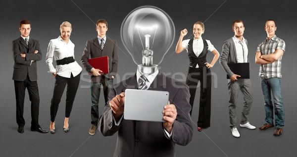 Business team lamp hoofd idee ruimte verschillend Stockfoto © leedsn