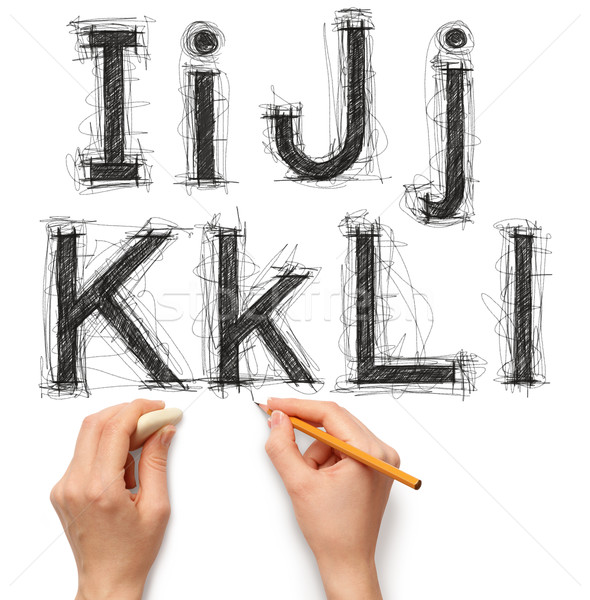 sketch letters and numbers with hand and pencil Stock photo © leedsn