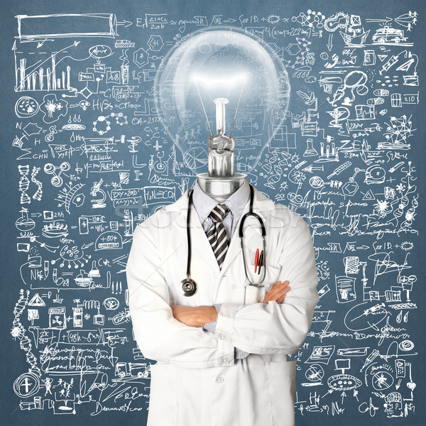 Lamp Head Doctor Man With Stethoscope Stock photo © leedsn