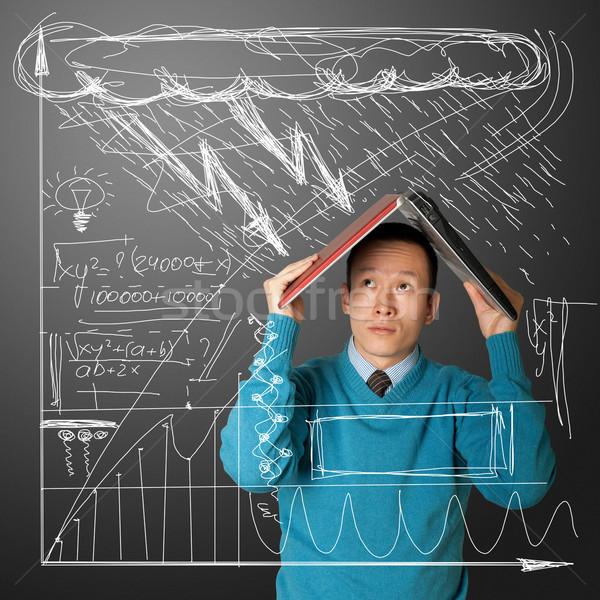 Jovem empresário laptop asiático negócio trabalhar Foto stock © leedsn