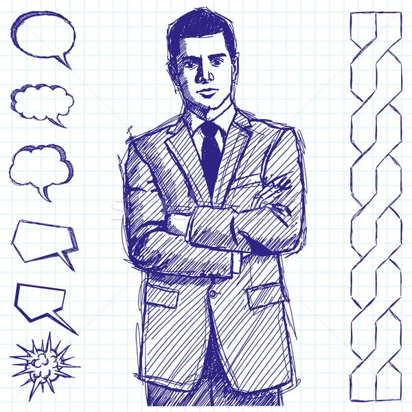 Stock photo: Sketch Man Businessman In Suit