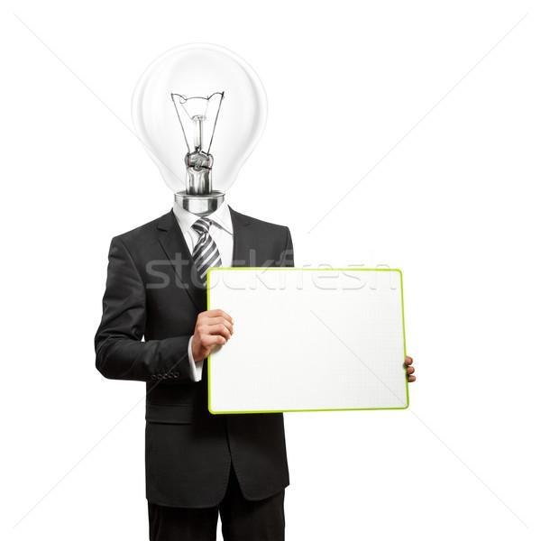 Сток-фото: лампы · голову · пусто · написать · совета · деловой · человек