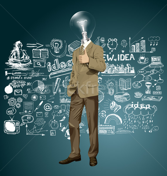 Vector Lamp Head Business Man Shows Well Done Stock photo © leedsn