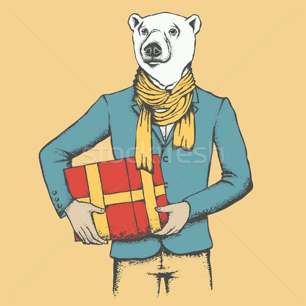 Fehér jegesmedve medve emberi öltöny ajándék Stock fotó © leedsn
