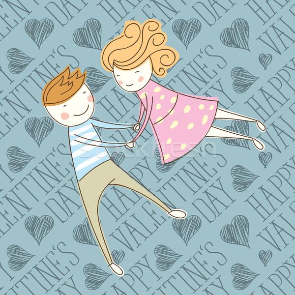 Vecteur carte couple 16 Valentin Photo stock © leedsn