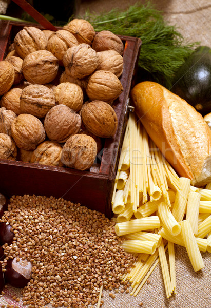 Still Life With Chest, Nuts, Pumpkin, Bread  Stock photo © leedsn