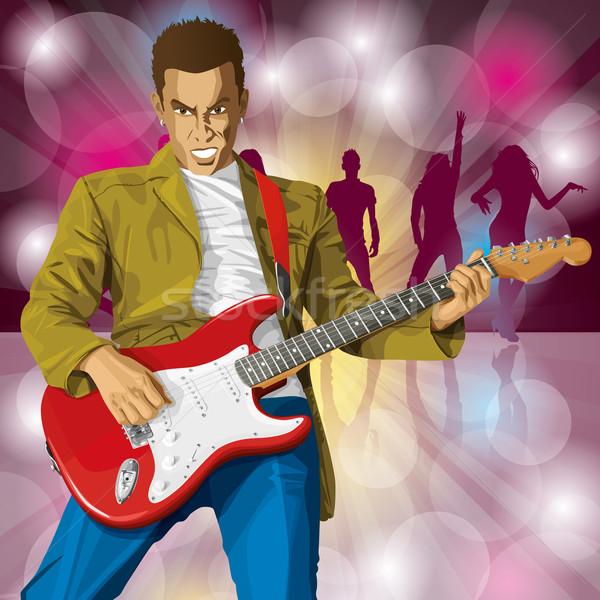 Punk With The Guitar Stock photo © leedsn