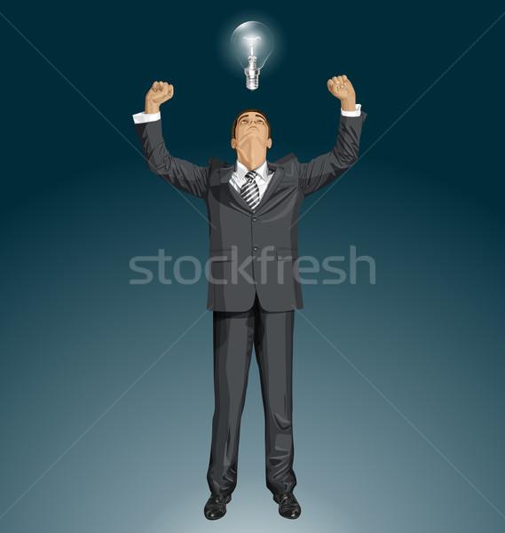 Vector zakenman handen omhoog gelukkig naar Stockfoto © leedsn