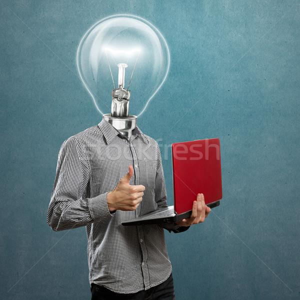 Lampe tête homme portable mains bien Photo stock © leedsn