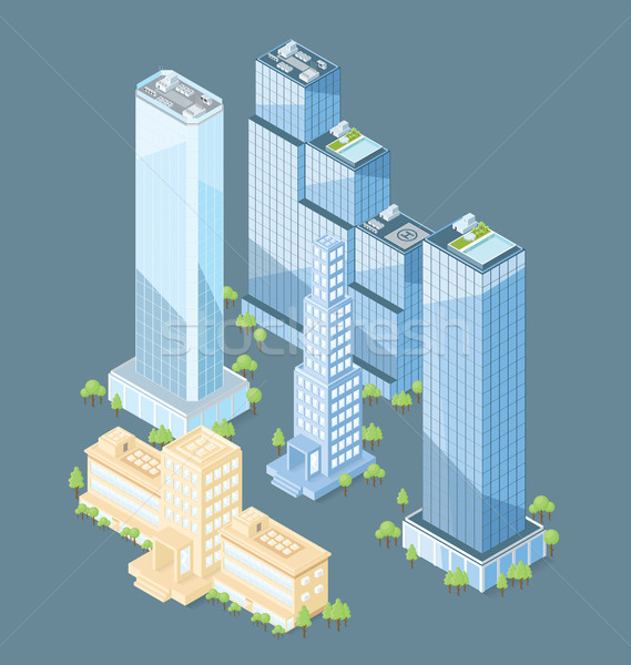 Vector 3d Flat Isometric Office Building Stock photo © leedsn