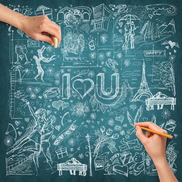 Idéia mão humana amor esboço lápis mão Foto stock © leedsn