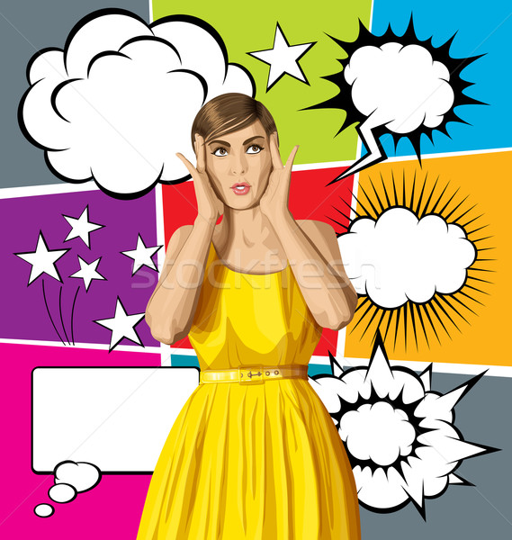 Stock photo: Vector Surprised Girl in Dress with Bubble Speech