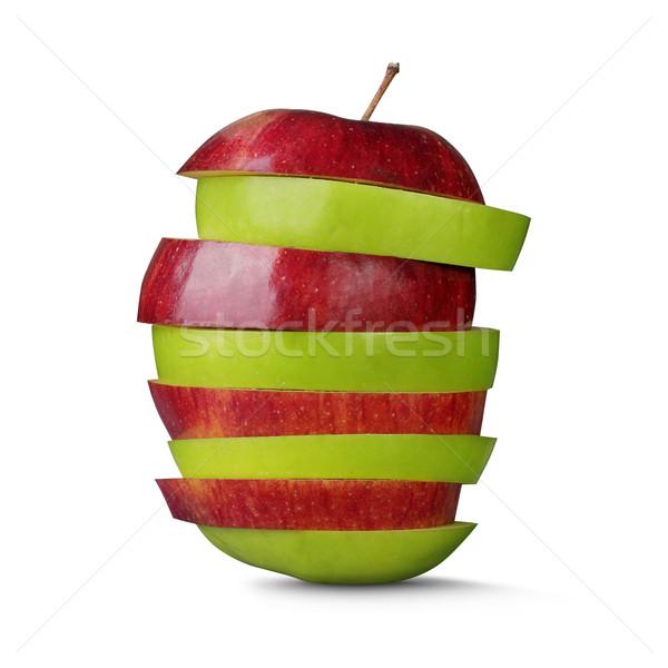 赤 緑 カット リンゴ 孤立した 白 ストックフォト © leedsn