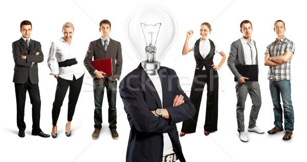 Stockfoto: Business · team · lamp · hoofd · idee · ruimte · verschillend