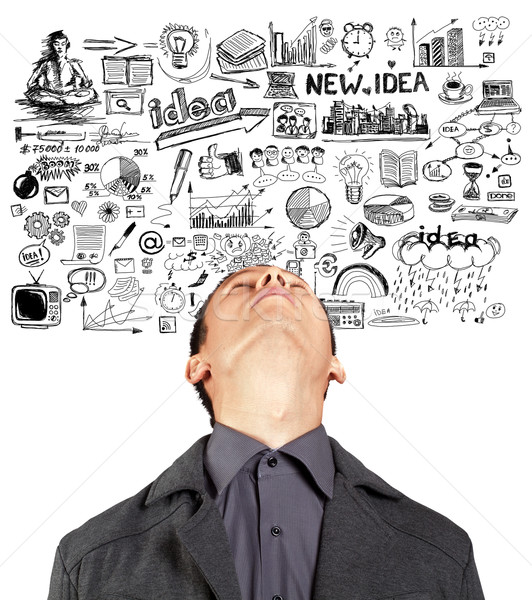Businessman Looking Upwards Stock photo © leedsn