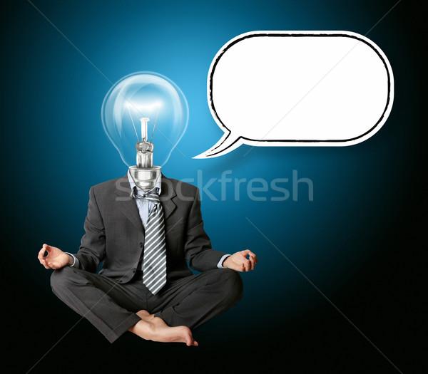 Foto stock: Empresario · loto · plantean · burbuja · de · pensamiento · signo · maestro