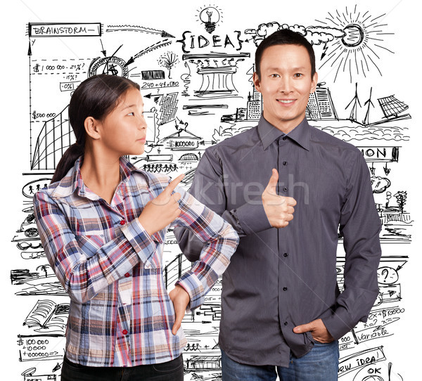 Asian Man and Girl Showing Well Done Stock photo © leedsn