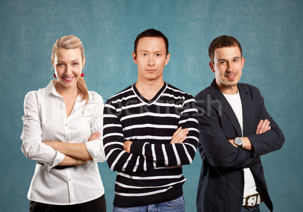 ストックフォト: チームワーク · アジア · 男 · 縞模様の · プルオーバー · 見える
