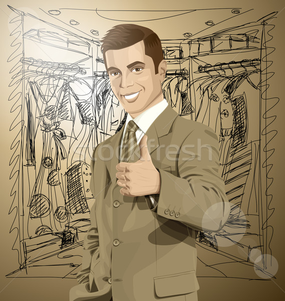 Vector Business Man Shows Well Done Stock photo © leedsn
