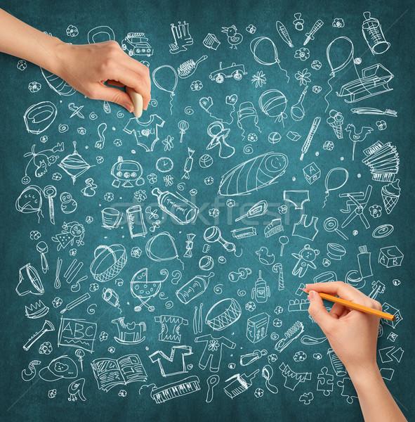 Foto stock: Idea · mano · humana · familia · boceto · lápiz · mano