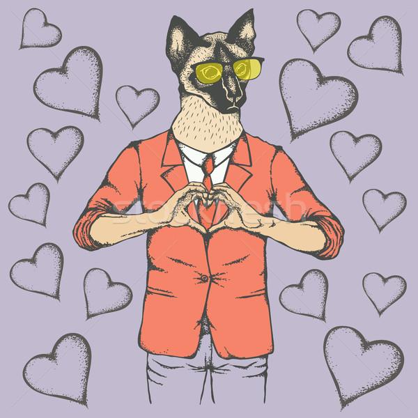 Cat Valentine day vector concept Stock photo © leedsn