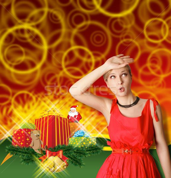 ストックフォト: 女性 · 赤 · クリスマス · 贈り物 · 幸せ