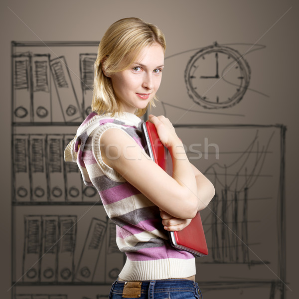 Kobieta laptop ręce patrząc kamery działalności Zdjęcia stock © leedsn