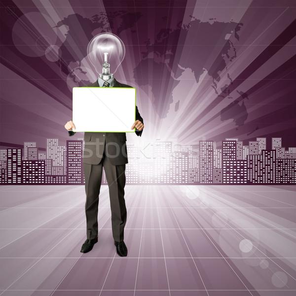 Lamp Head Human against Conceptual Background Stock photo © leedsn