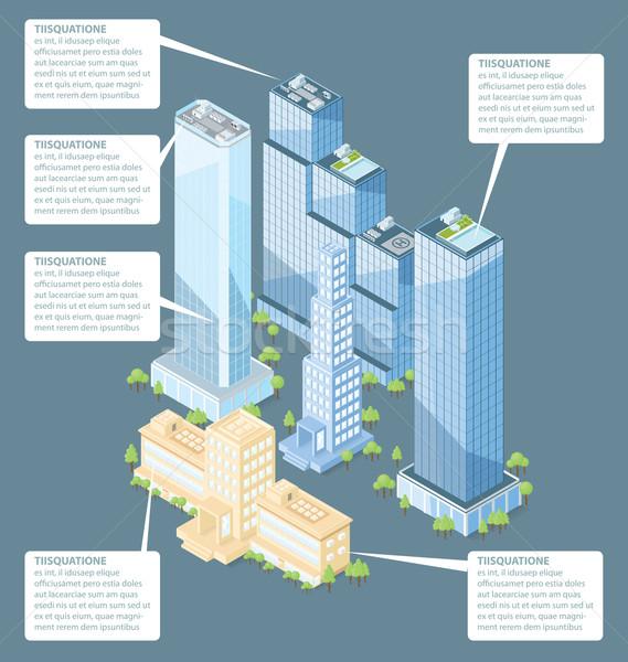 Vector 3D isometrische kantoorgebouw bomen huis Stockfoto © leedsn