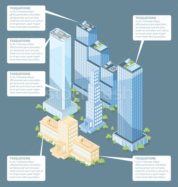 Vetor 3D isométrica prédio comercial árvores casa Foto stock © leedsn