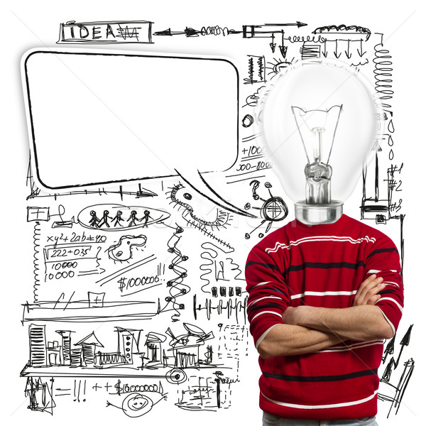 male in red and lamp-head with speech bubble Stock photo © leedsn