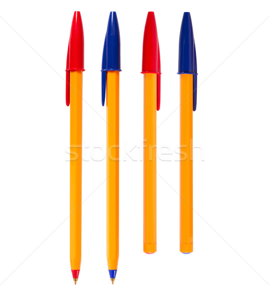 Foto stock: Canetas · caneta · isolado · branco · diferente · cores