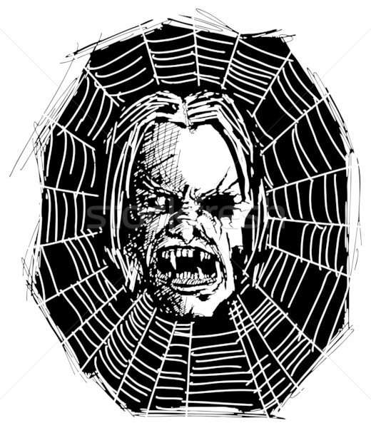 Boos monster schedel vector schets kwaad Stockfoto © leedsn