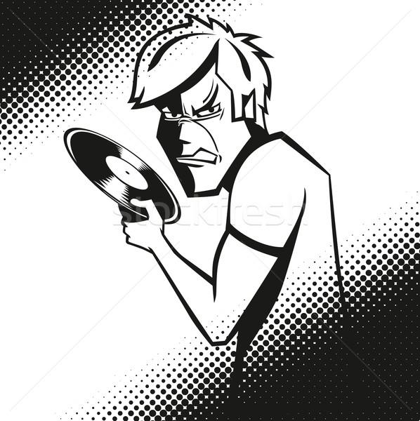 Mérges férfi vektor bakelit lemez kéz Stock fotó © leedsn