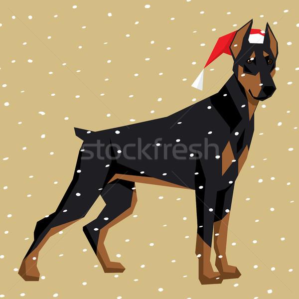 ベクトル 犬 コレクション ポリゴン 犬 クリスマス ストックフォト © leedsn