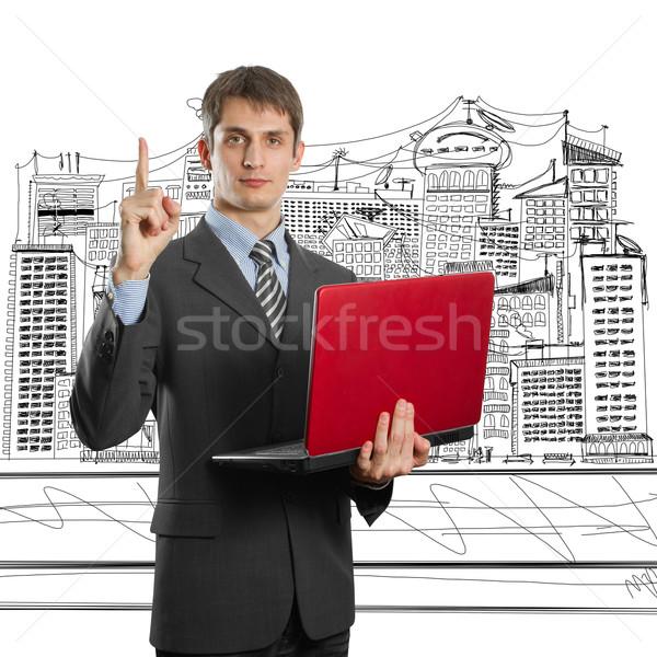 Zdjęcia stock: Mężczyzna · garnitur · laptop · pomysł · biznesmen · ręce