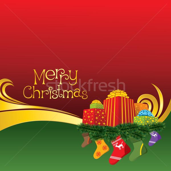 2012 vector christmas card with socks Stock photo © leedsn