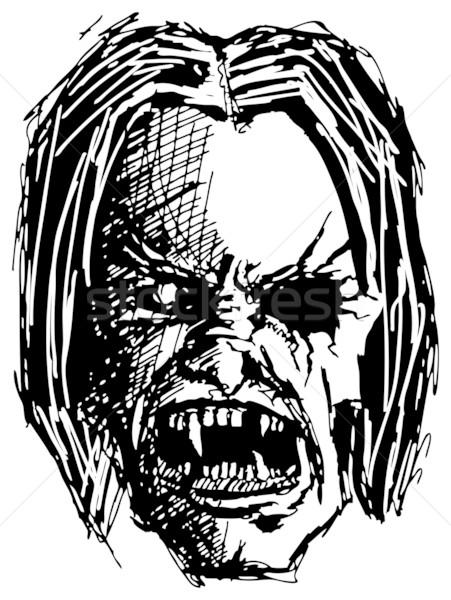 сердиться монстр череп вектора эскиз зла Сток-фото © leedsn