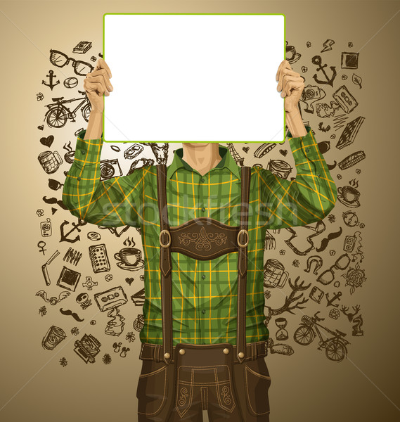 Man With Write Board On Oktoberfest Stock photo © leedsn