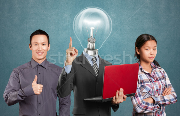 Stockfoto: Asian · team · lamp · hoofd · man · business · team