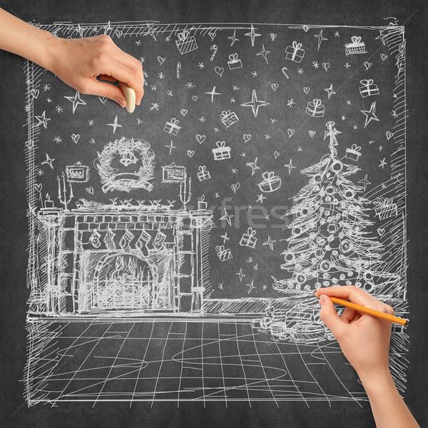 Foto stock: Idea · mano · humana · Navidad · boceto · lápiz · diseno