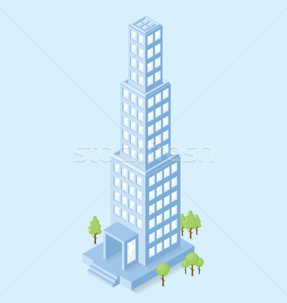 Stock photo: Vector 3d Flat Isometric Office Building