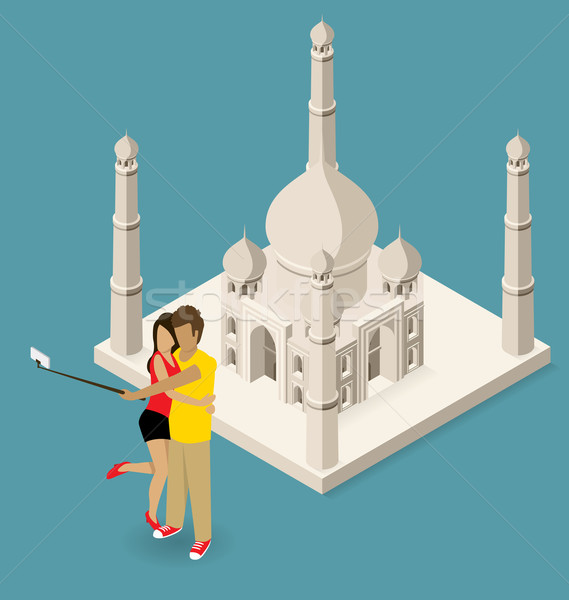 Couple Making Selfie Near The Taj Mahal Stock photo © leedsn