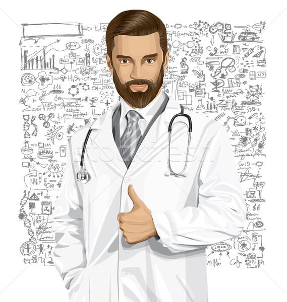 Stock fotó: Vektor · orvos · sztetoszkóp · férfi · kút · arc