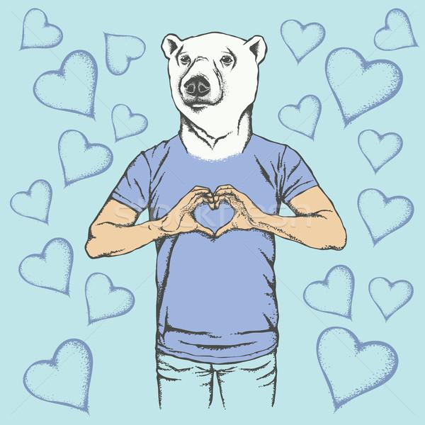 Jegesmedve Valentin nap nap vektor fehér medve Stock fotó © leedsn