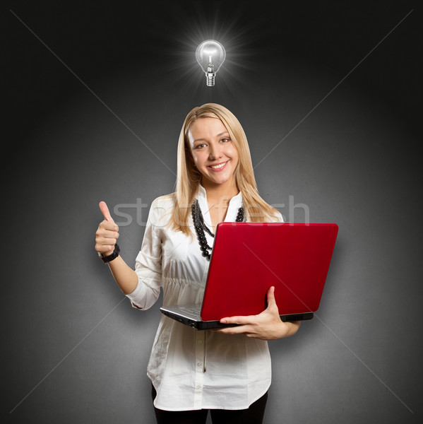 Idea Concept female with laptop shows well done Stock photo © leedsn