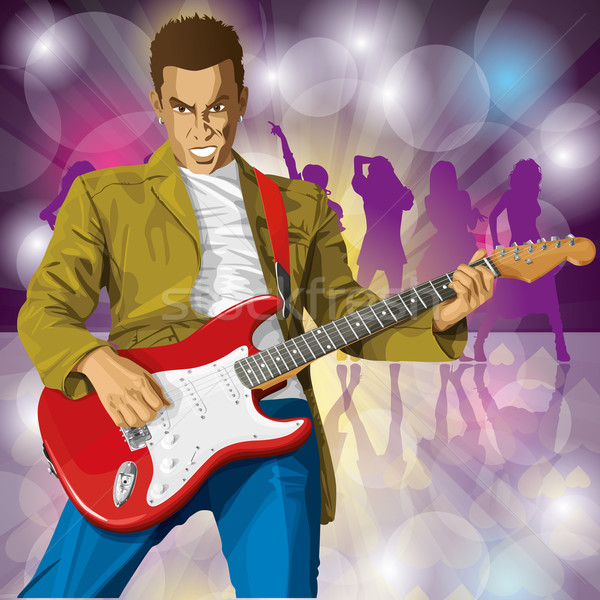 панк гитаре вектора человека Сток-фото © leedsn